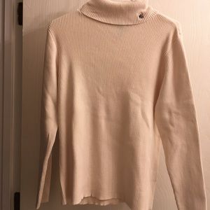 Ralph Lauren Off White Ribbed Turtleneck Sweater